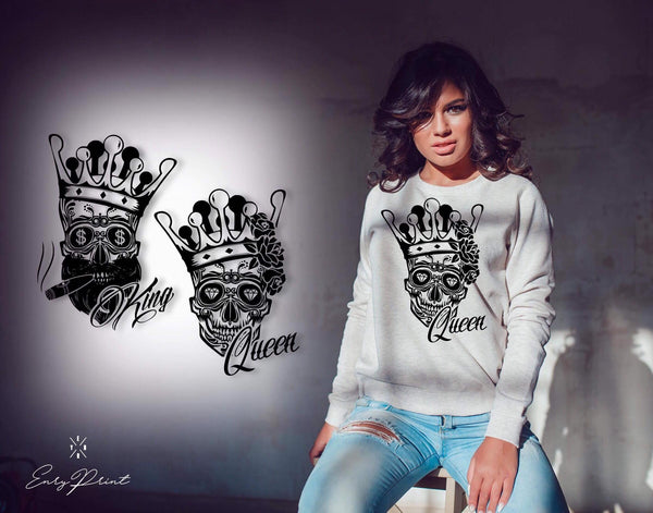 "Sweatshirt ""King and Queen skull""-Hoodies-EnryPrint.com"