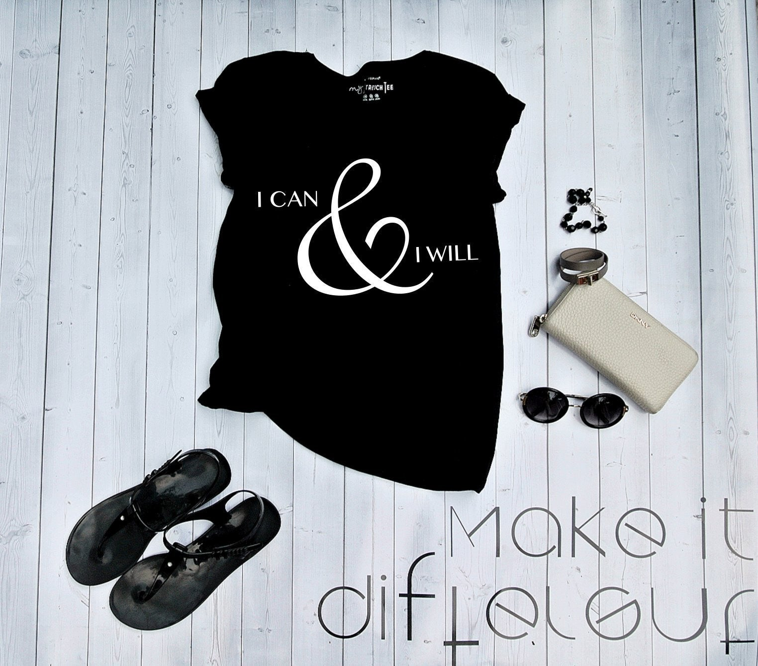 "T-shirt ""I CAN & I WILL""-T-Shirts-EnryPrint.com"
