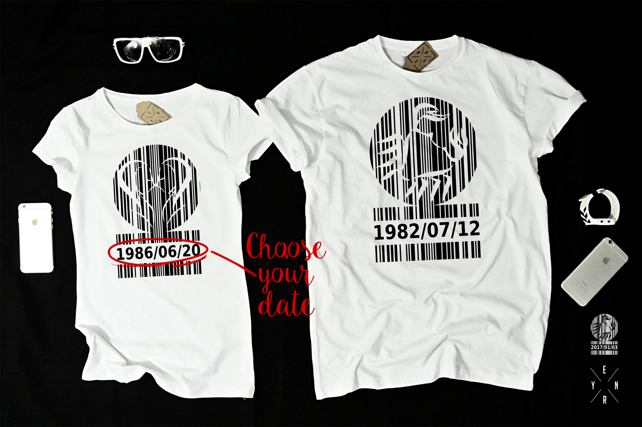 "T-shirts for couple ""Barcode""-T-Shirts-EnryPrint.com"
