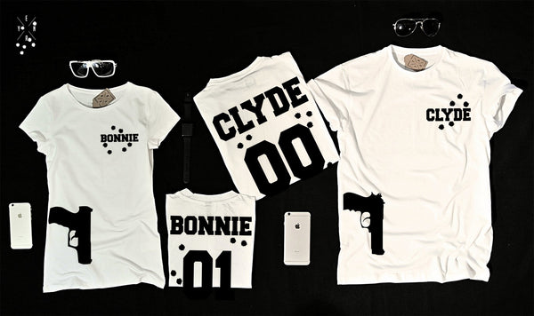 "T-shirts for couple ""BONNIE & CLYDE""-T-Shirts-EnryPrint.com"