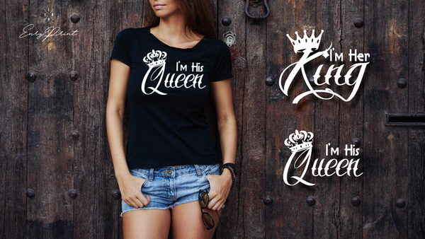 "T-shirts for couple ""HER KING & HIS QUEEN""-T-Shirts-EnryPrint.com"