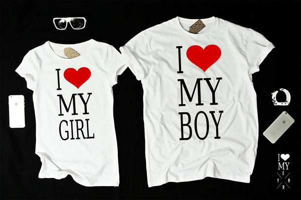 "T-shirts for couple ""I LOVE BOY I LOVE GIRL""-T-Shirts-EnryPrint.com"