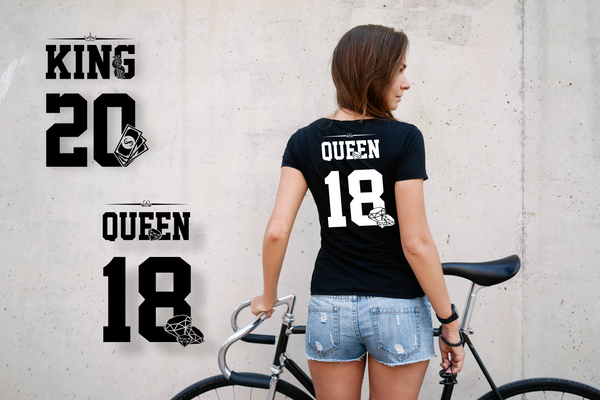 "T-shirts for couple ""KING & QUEEN data""-T-Shirts-EnryPrint.com"