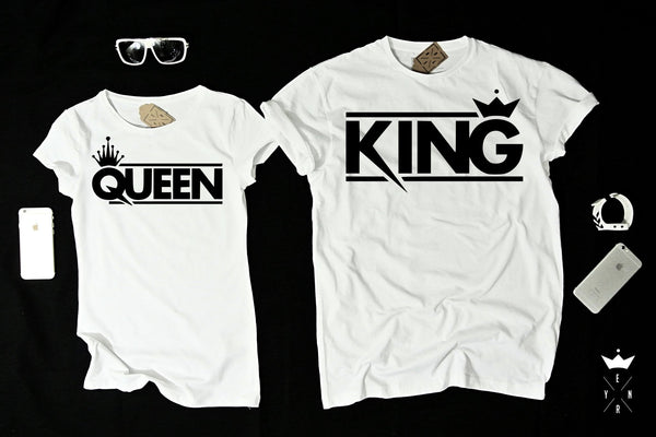 "T-shirts for couple ""King & Queen""-T-Shirts-EnryPrint.com"
