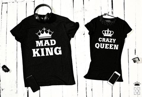 "T-shirts for couple ""MAD KING & CRAZY QUEEN""-T-Shirts-EnryPrint.com"