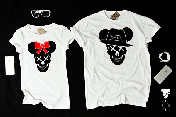 "T-shirts for couple ""MICKEY SKULL""-T-Shirts-EnryPrint.com"