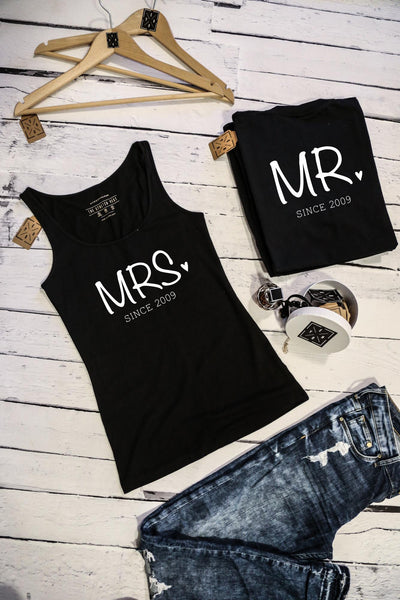 "T-shirts for couple ""MR&MRS since""-T-Shirts-EnryPrint.com"