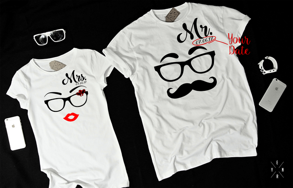 "T-shirts for couple ""MR.&MRS.""-T-Shirts-EnryPrint.com"