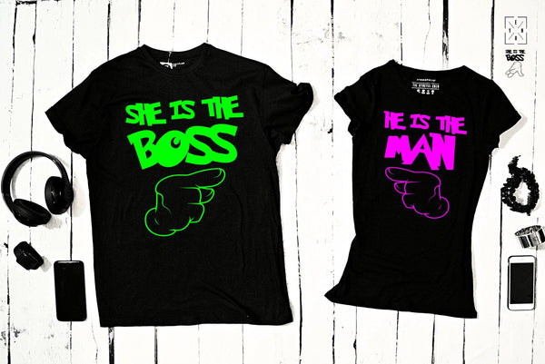 "T-shirts for couple ""My BOSS My MAN""-T-Shirts-EnryPrint.com"