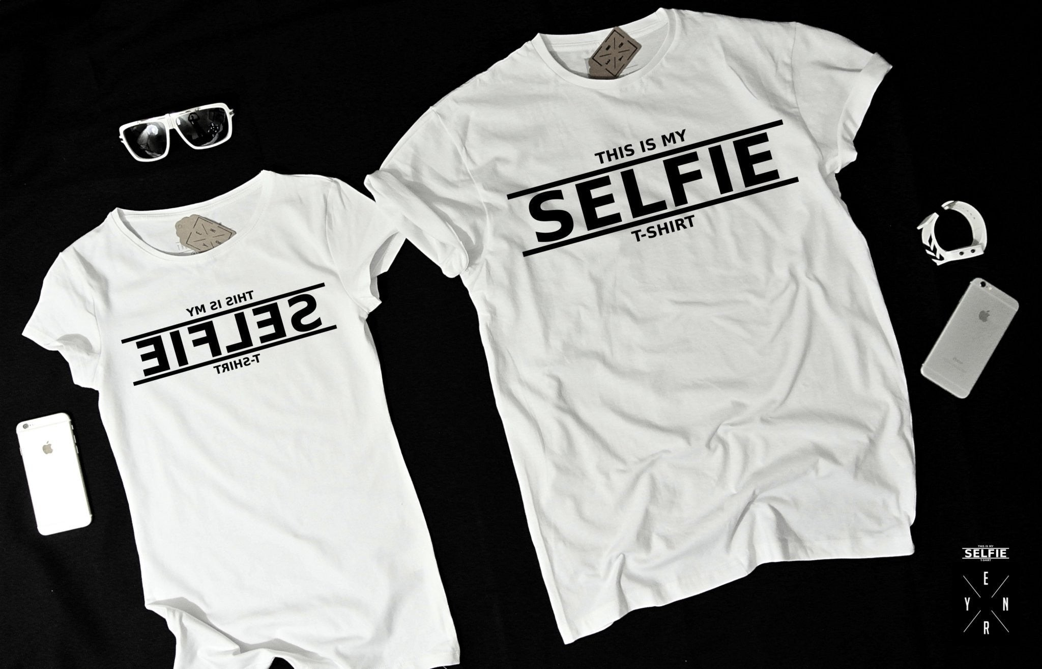 "T-shirts for couple ""SELFIE""-T-Shirts-EnryPrint.com"