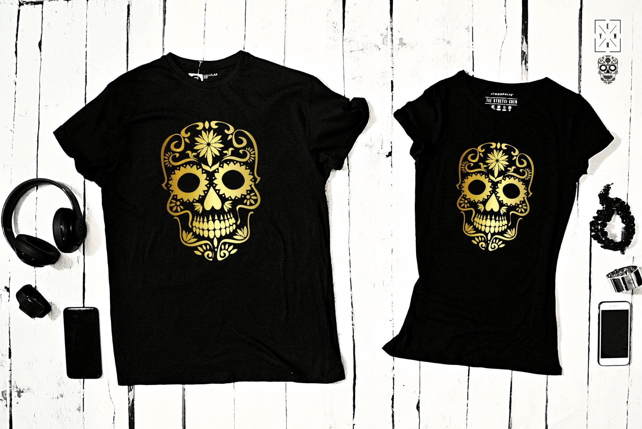 "T-shirts for couple ""SKULL""-T-Shirts-EnryPrint.com"