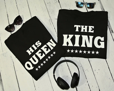 "T-shirts for couple ""THE KING & HIS QUEEN""-T-Shirts-EnryPrint.com"