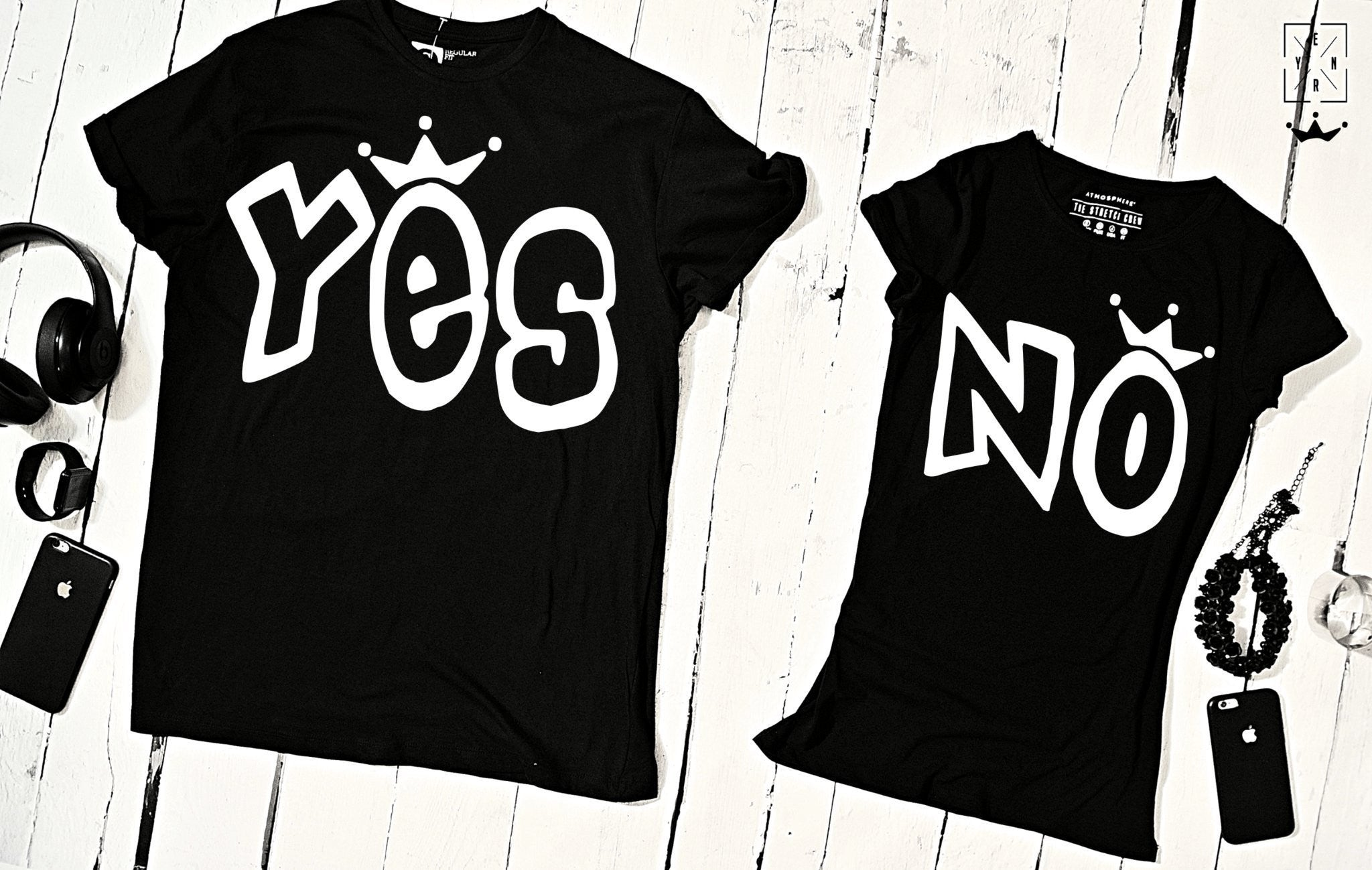 "T-shirts for couple ""YES & NO""-T-Shirts-EnryPrint.com"