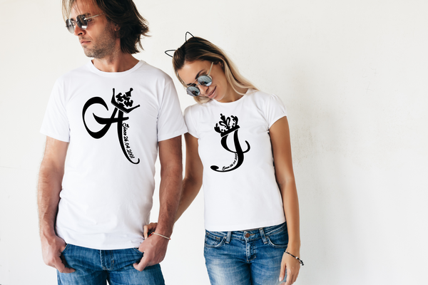"T-shirts for couple ""Your initials""-T-Shirts-EnryPrint.com"