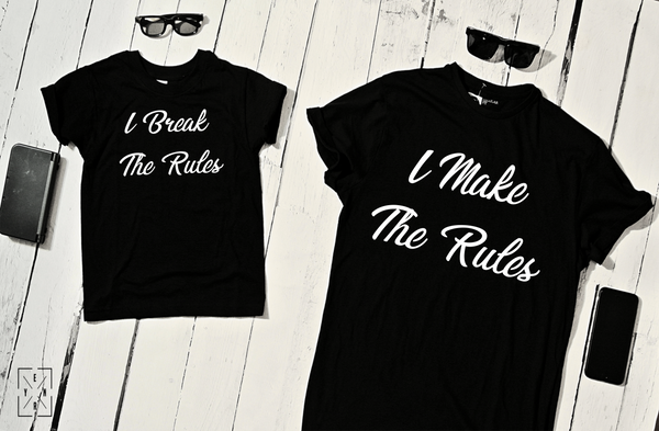 "T-shirts for Dad and child ""rules and break rules""-T-Shirts-EnryPrint.com"