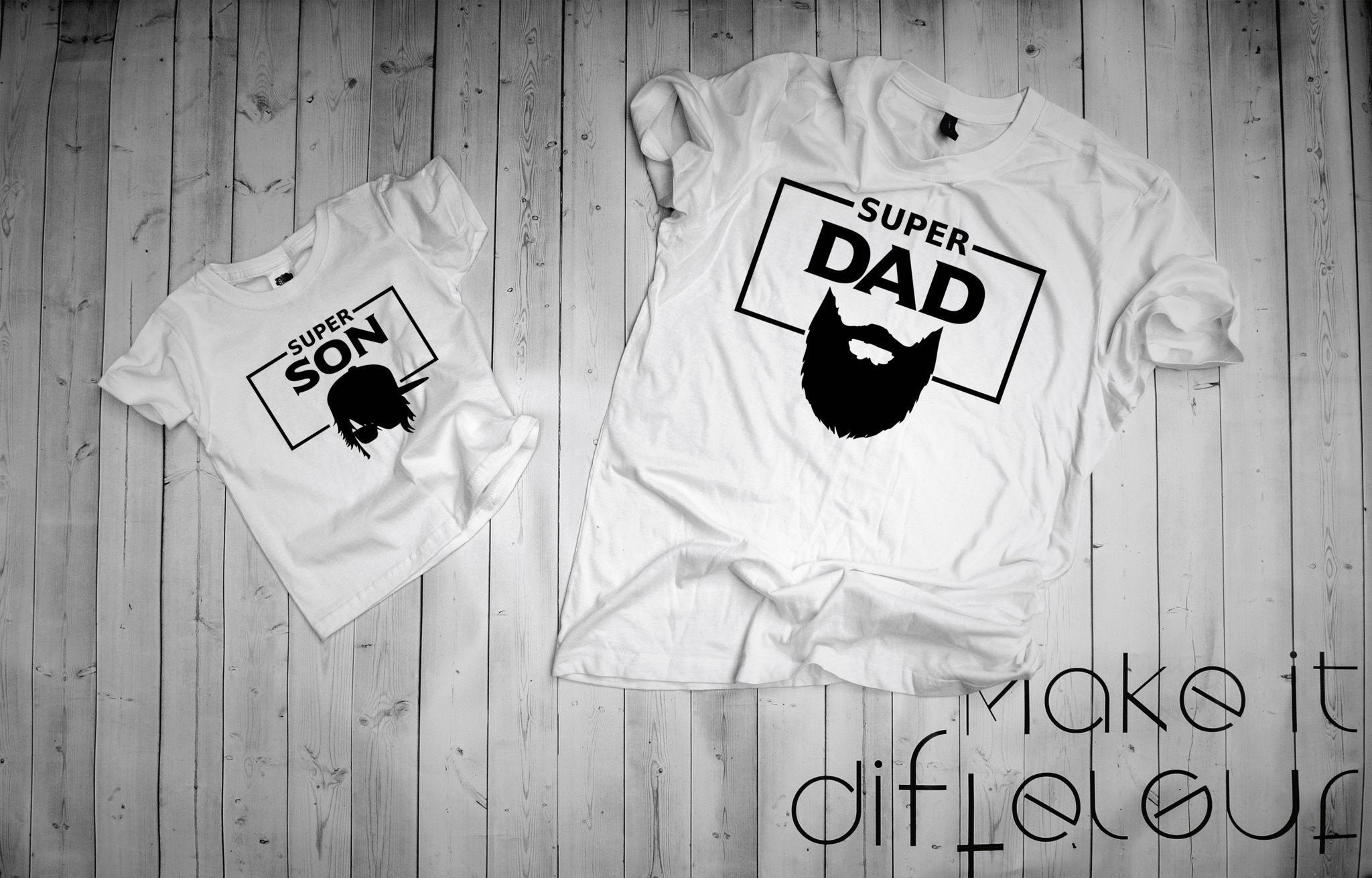 "T-shirts for Dad and child ""SUPER DA SON""-T-Shirts-EnryPrint.com"