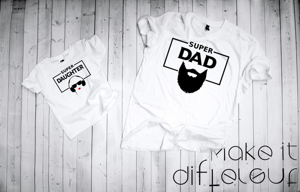 "T-shirts for Dad and child ""super dad and super daughter""-T-Shirts-EnryPrint.com"