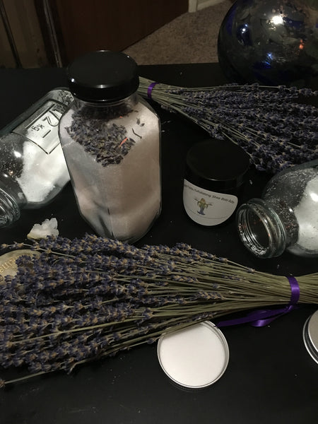 Lavender Rain Relaxing Bath Salts and Lavender Fields Exfoliating Body Butter