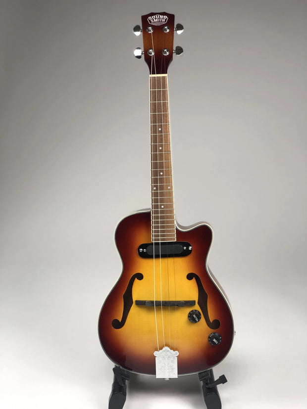 Sound Smith Electric Hollow Body Jazz Tenor Ukulele  - Antique Sunburst - SOUND SMITH  Ukulele - steel string ukulele - low g ukulele - jazz ukulele