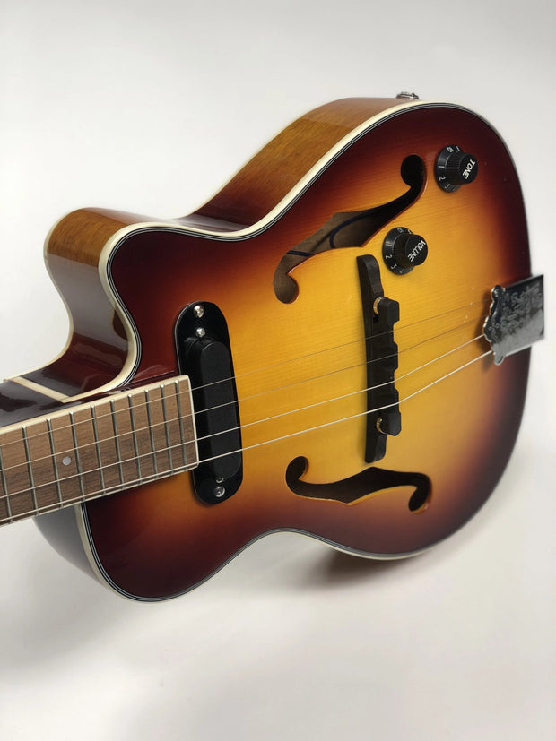 Sound Smith Electric Hollow Body Jazz Tenor Ukulele  - Antique Sunburst - SOUND SMITH  Ukulele - Jazz ukulele - steel string ukulele - tenor ukulele