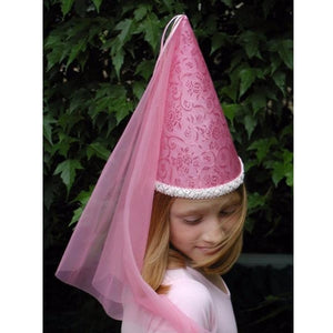 girl wearing pink princess hat with veil
