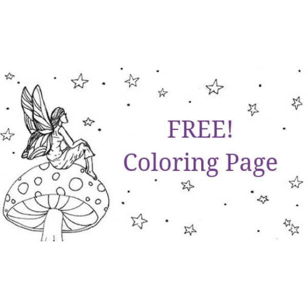 Free coloring page of a fairy sitting on a mushroom looking at stars