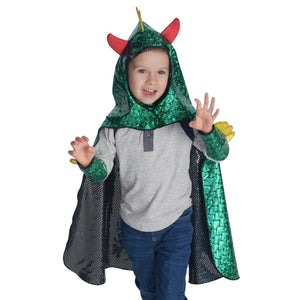 childe wearing dragon cape with hood