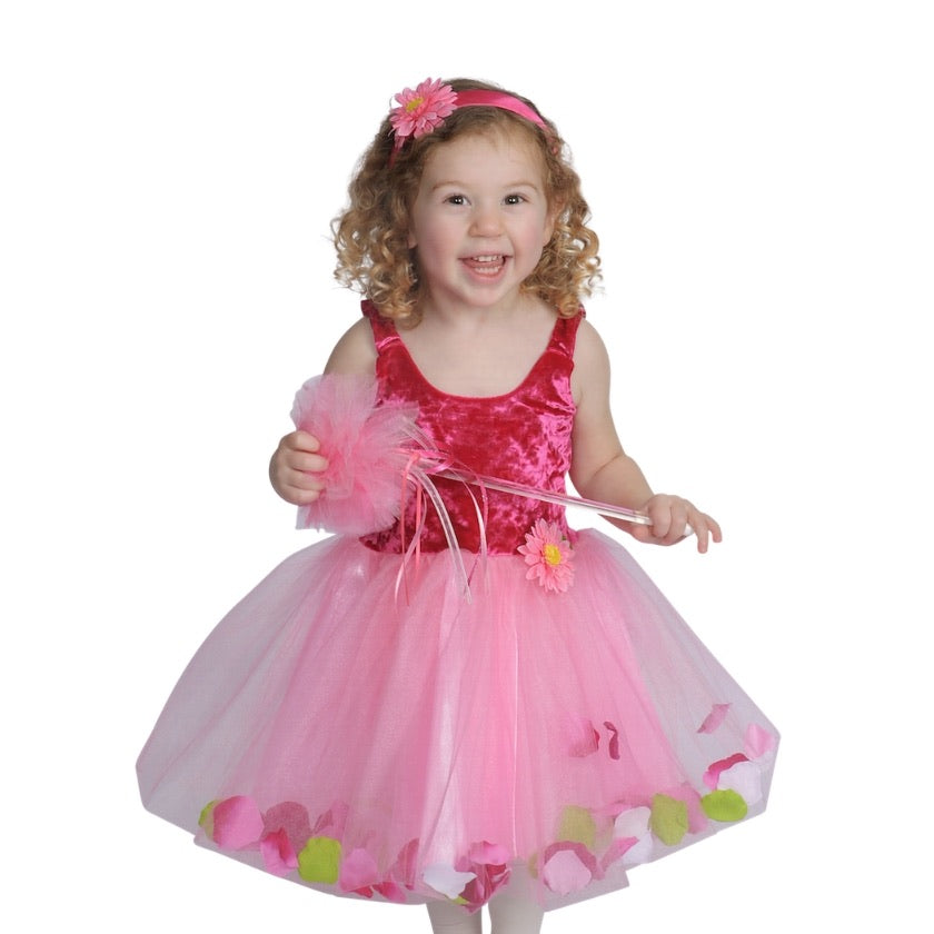 Girl wearing a pink fairy dress with tutu skirt and holding a princess wand
