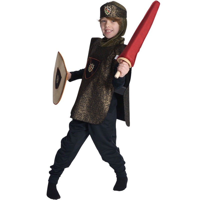 child dressed up as a knight holding shield and toy sword