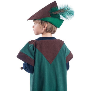 child wearing woodsman tunic and robin hood hat with feather