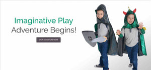 Image of kids wearing imaginative play capes and costumes. Text reads: Imaginative Play. Adventure Begins!