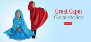 Image of kids wearing dress up capes and costumes. Text reads: Great Capes. Great Stories.