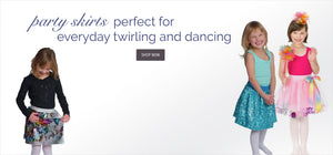 girls wearing party skirts perfect for everyday twirling and dancing
