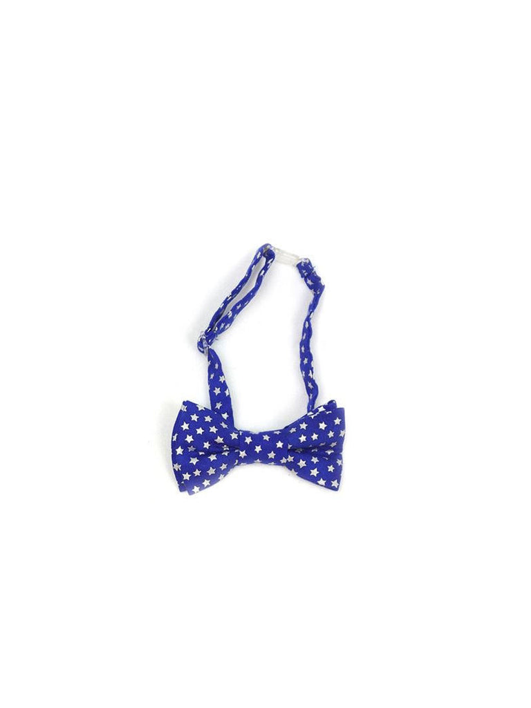 Boys Fly Guy bowtie in royal blue with silver stars print