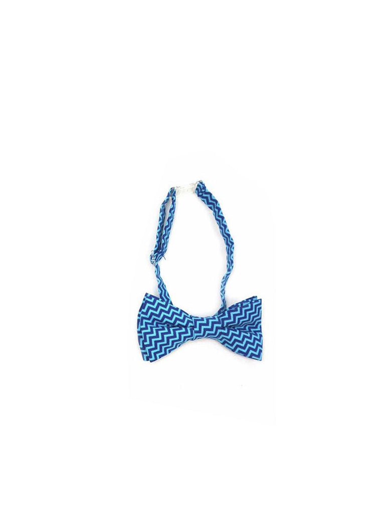 Boys Fly Guy bowtie in blue zigzag print