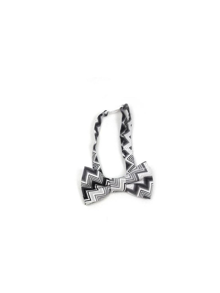 Boys Fly Guy bowtie in gray zigzag print