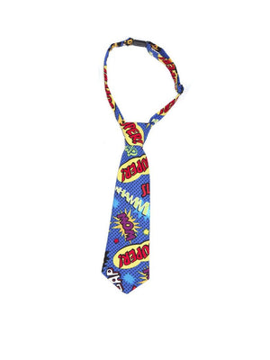 Fly Guy toddler necktie in multicolor Pow Bam Wham print