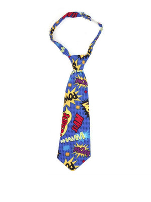 Boys necktie in multicolor Pow Bam Wham print
