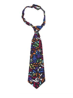 Boys necktie in multicolor musical note print