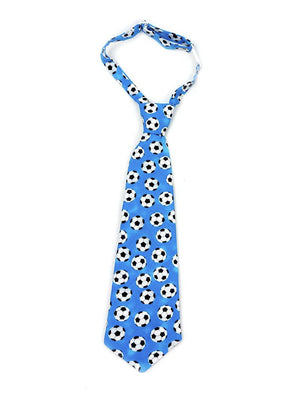 Boys necktie in blue soccer print