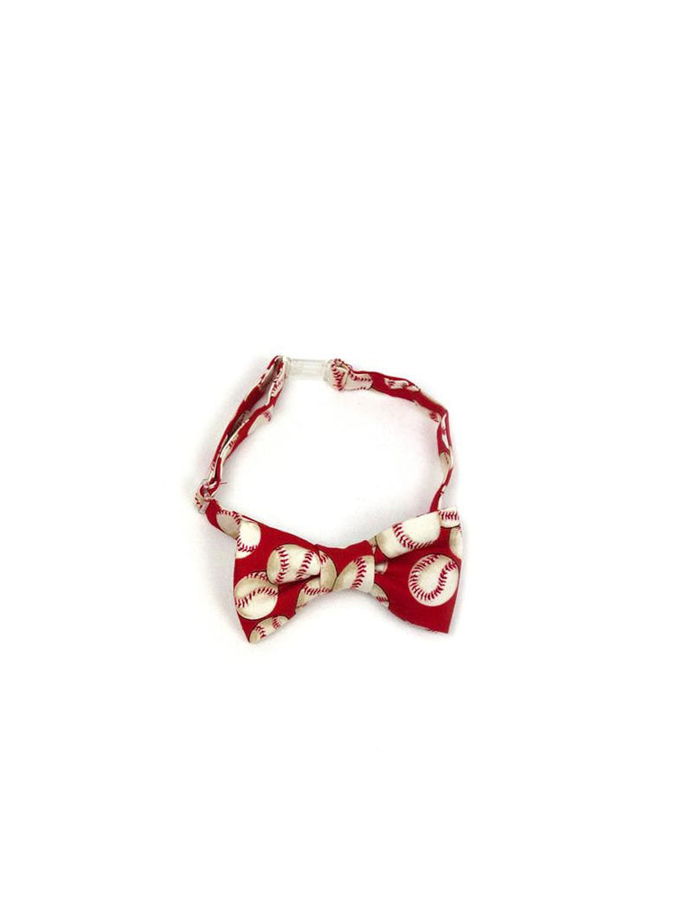 Boys Fly Guy bowtie in red baseball print