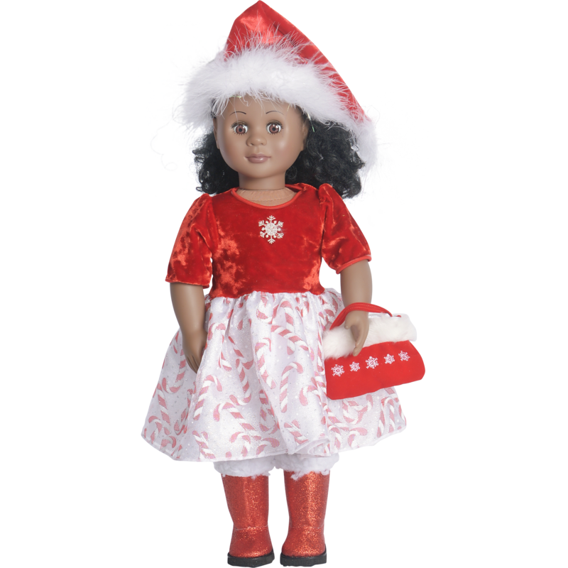 "18"" doll Xmas Santa dress set with Santa hat"