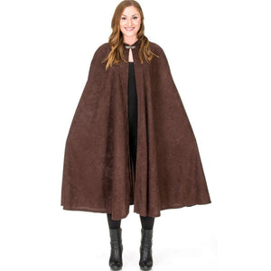 adult wearing brown robin hood style cape