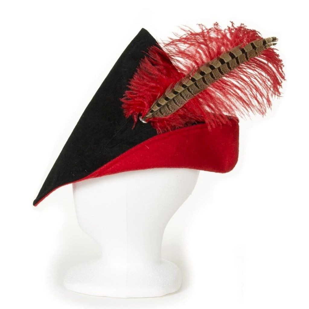 Black and red Robin Hood style adult hat with feather
