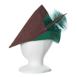 Brown and green Robin Hood style adult hat with feather