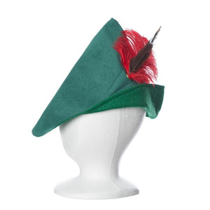 Green Robin Hood style adult hat with feather