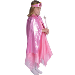 girl dressed up in pink princess dress and cape with wand