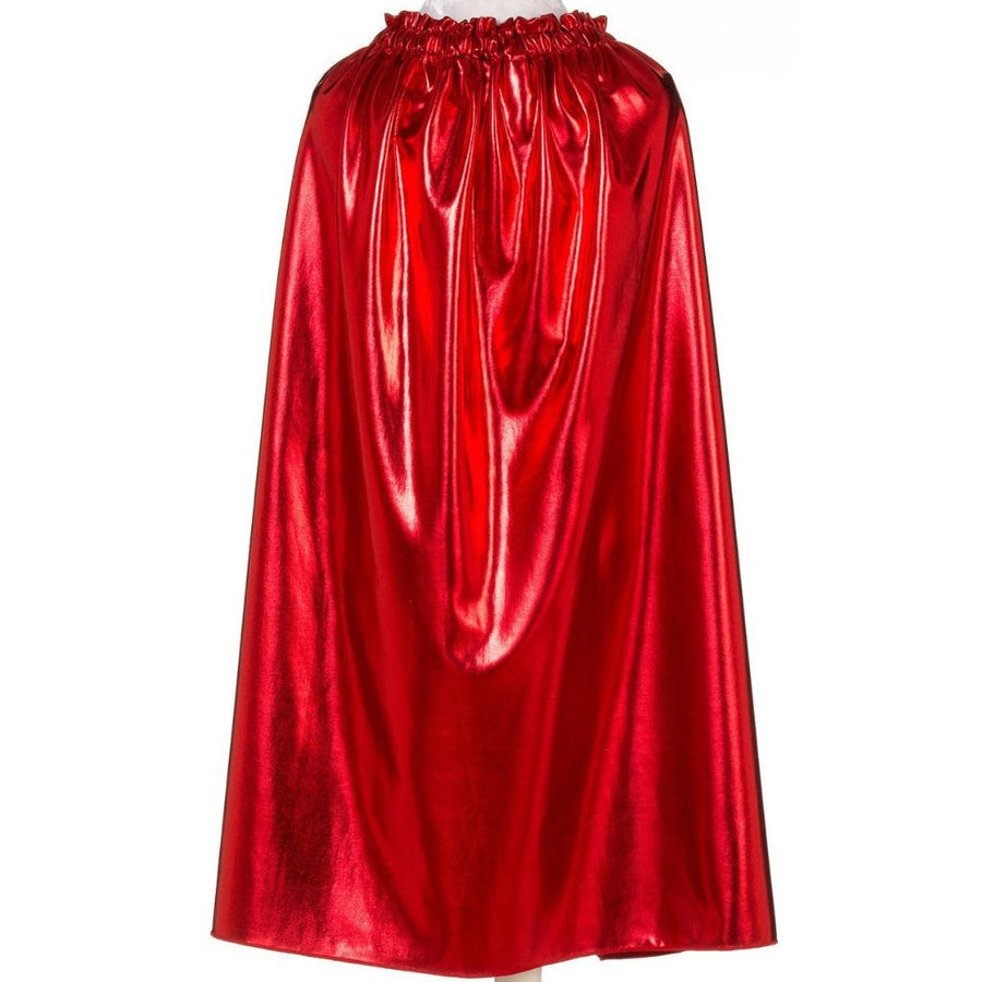 child wearing red superhero cape with crown and armbands