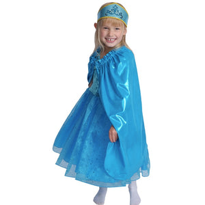 girl dressed up in blue princess dress and cape