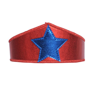 kids red dress up crown with blue star